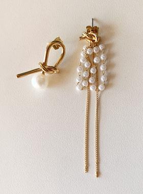 オンバル真珠ロングイヤリング