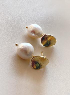 ナチュラル真珠コインイヤリング